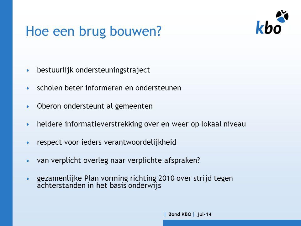  Bond KBO  jul-14 Het 10 puntenplan; hoe komen we van knip naar brug.