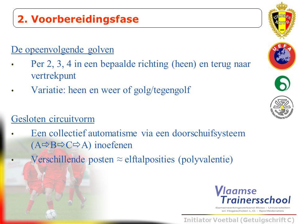 Initiator Voetbal (Getuigschrift C) De opeenvolgende golven • Per 2, 3, 4 in een bepaalde richting (heen) en terug naar vertrekpunt • Variatie: heen e