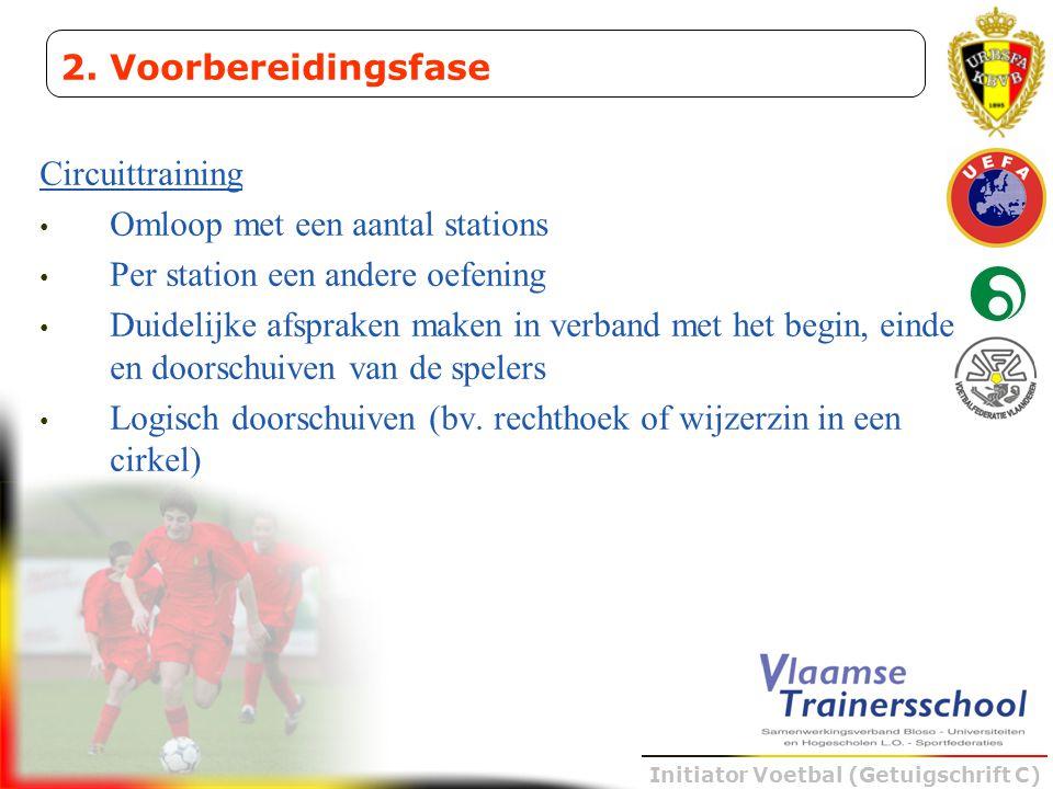 Initiator Voetbal (Getuigschrift C) Circuittraining • Omloop met een aantal stations • Per station een andere oefening • Duidelijke afspraken maken in