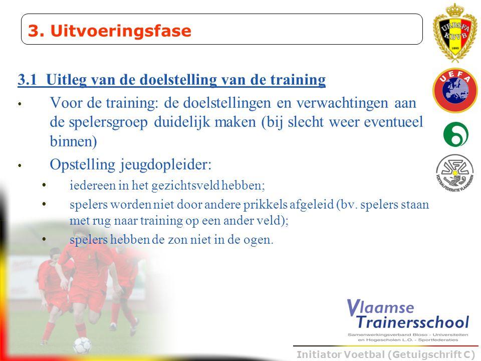 Initiator Voetbal (Getuigschrift C) 3.1 Uitleg van de doelstelling van de training • Voor de training: de doelstellingen en verwachtingen aan de spele