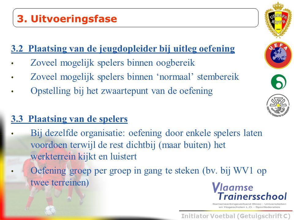 Initiator Voetbal (Getuigschrift C) 3.2 Plaatsing van de jeugdopleider bij uitleg oefening • Zoveel mogelijk spelers binnen oogbereik • Zoveel mogelij
