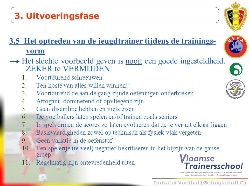 Initiator Voetbal (Getuigschrift C) 3.5 Het optreden van de jeugdtrainer tijdens de trainings- vorm Het slechte voorbeeld geven is nooit een goede ing