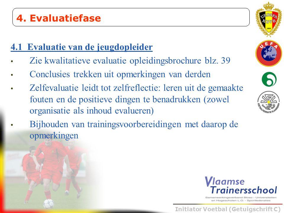 Initiator Voetbal (Getuigschrift C) 4.1 Evaluatie van de jeugdopleider • Zie kwalitatieve evaluatie opleidingsbrochure blz. 39 • Conclusies trekken ui