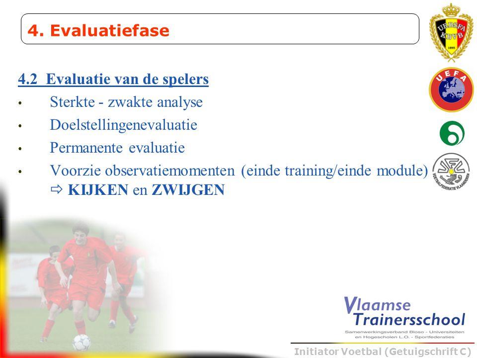 Initiator Voetbal (Getuigschrift C) 4.2 Evaluatie van de spelers • Sterkte - zwakte analyse • Doelstellingenevaluatie • Permanente evaluatie • Voorzie