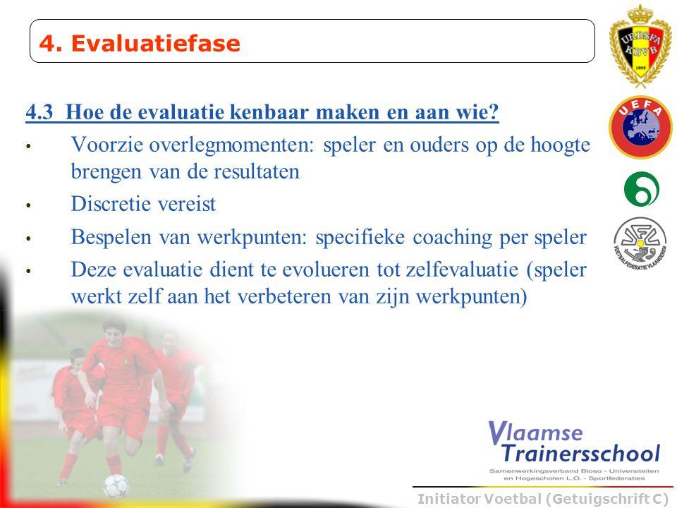 Initiator Voetbal (Getuigschrift C) 4.3 Hoe de evaluatie kenbaar maken en aan wie? • Voorzie overlegmomenten: speler en ouders op de hoogte brengen va