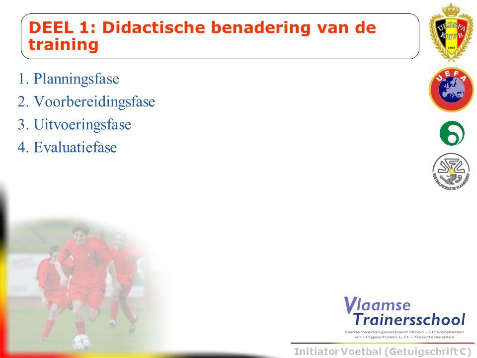 Initiator Voetbal (Getuigschrift C) 1. Planningsfase 2. Voorbereidingsfase 3. Uitvoeringsfase 4. Evaluatiefase DEEL 1: Didactische benadering van de t