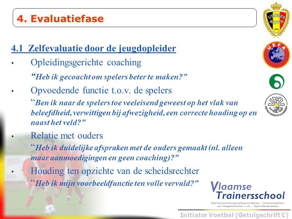 """Initiator Voetbal (Getuigschrift C) 4.1 Zelfevaluatie door de jeugdopleider • Opleidingsgerichte coaching """" Heb ik gecoacht om spelers beter te maken?"""