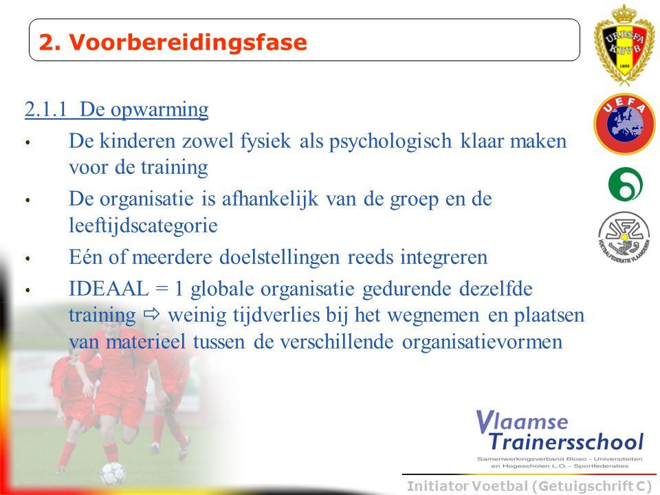 Initiator Voetbal (Getuigschrift C) 2.1.1 De opwarming • De kinderen zowel fysiek als psychologisch klaar maken voor de training • De organisatie is a