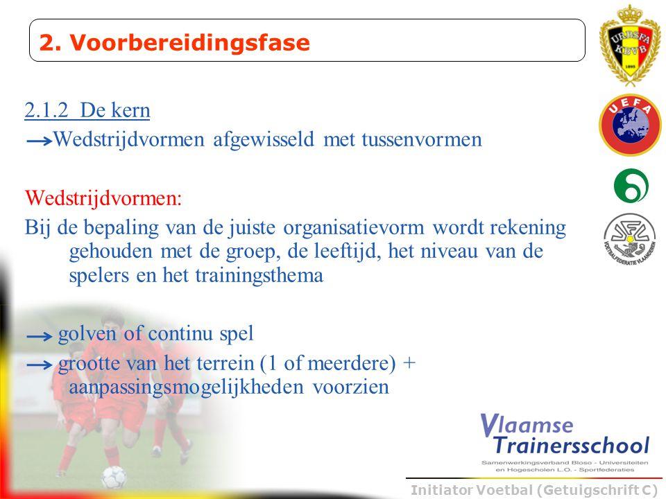 Initiator Voetbal (Getuigschrift C) 2.1.2 De kern Wedstrijdvormen afgewisseld met tussenvormen Wedstrijdvormen: Bij de bepaling van de juiste organisa
