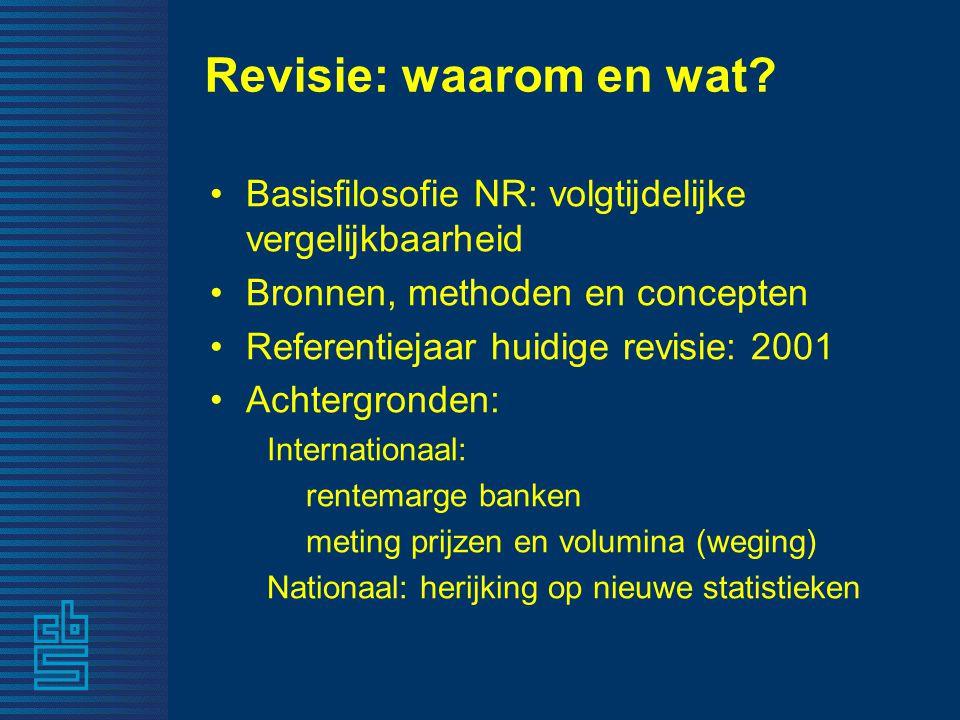 Revisie: waarom en wat? •Basisfilosofie NR: volgtijdelijke vergelijkbaarheid •Bronnen, methoden en concepten •Referentiejaar huidige revisie: 2001 •Ac