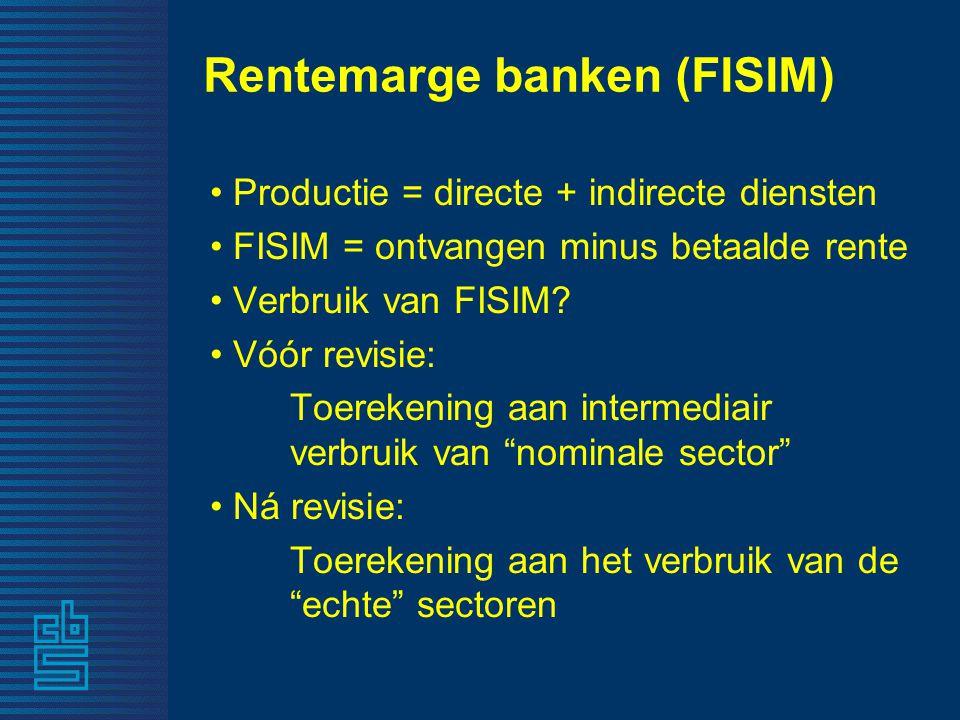Rentemarge banken (FISIM) • Productie = directe + indirecte diensten • FISIM = ontvangen minus betaalde rente • Verbruik van FISIM.