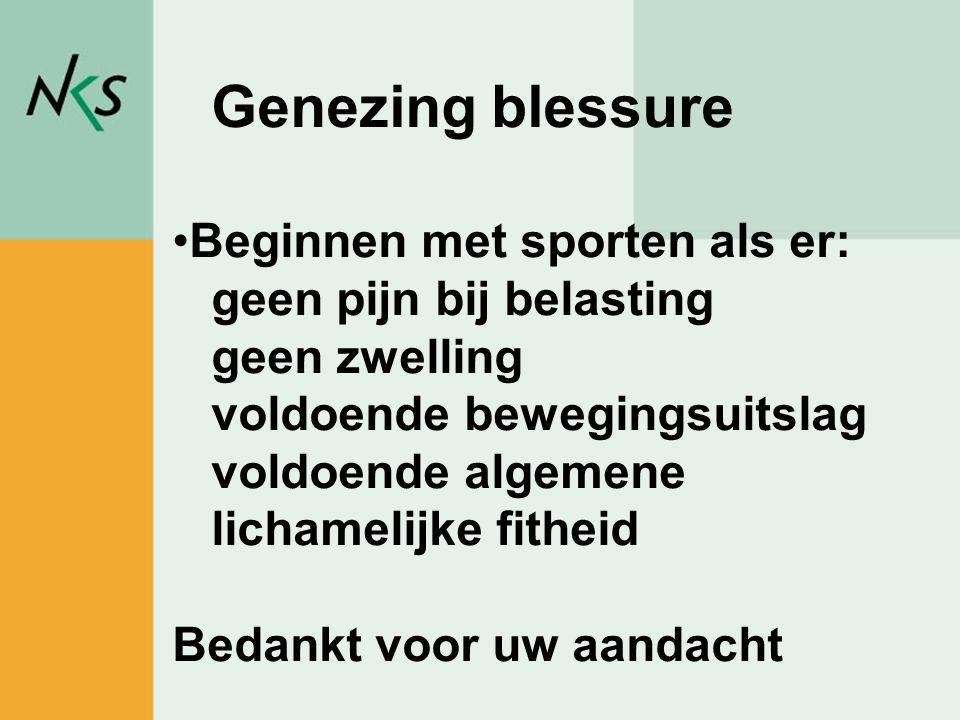 Peter Rademakers / sportadviseur Genezing blessure •Beginnen met sporten als er: geen pijn bij belasting geen zwelling voldoende bewegingsuitslag vold
