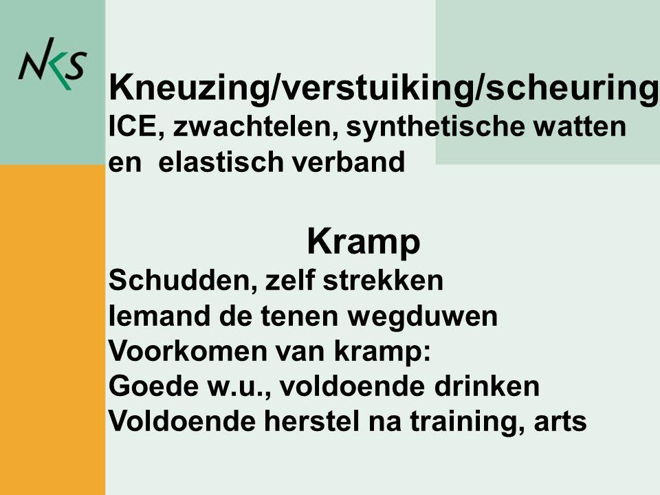 Peter Rademakers / sportadviseur Kneuzing/verstuiking/scheuring ICE, zwachtelen, synthetische watten en elastisch verband Kramp Schudden, zelf strekke