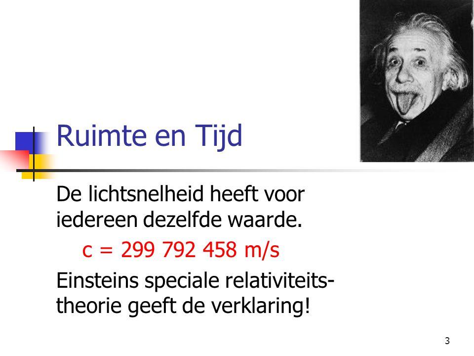 3 Ruimte en Tijd De lichtsnelheid heeft voor iedereen dezelfde waarde. c = 299 792 458 m/s Einsteins speciale relativiteits- theorie geeft de verklari