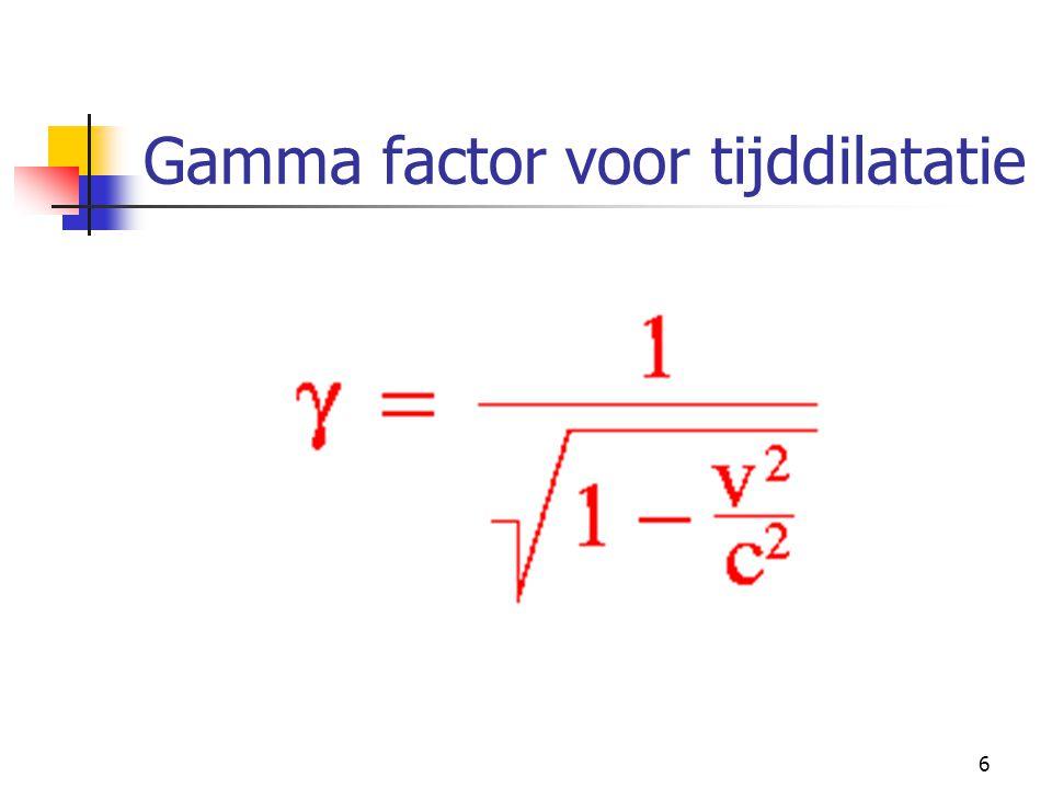6 Gamma factor voor tijddilatatie
