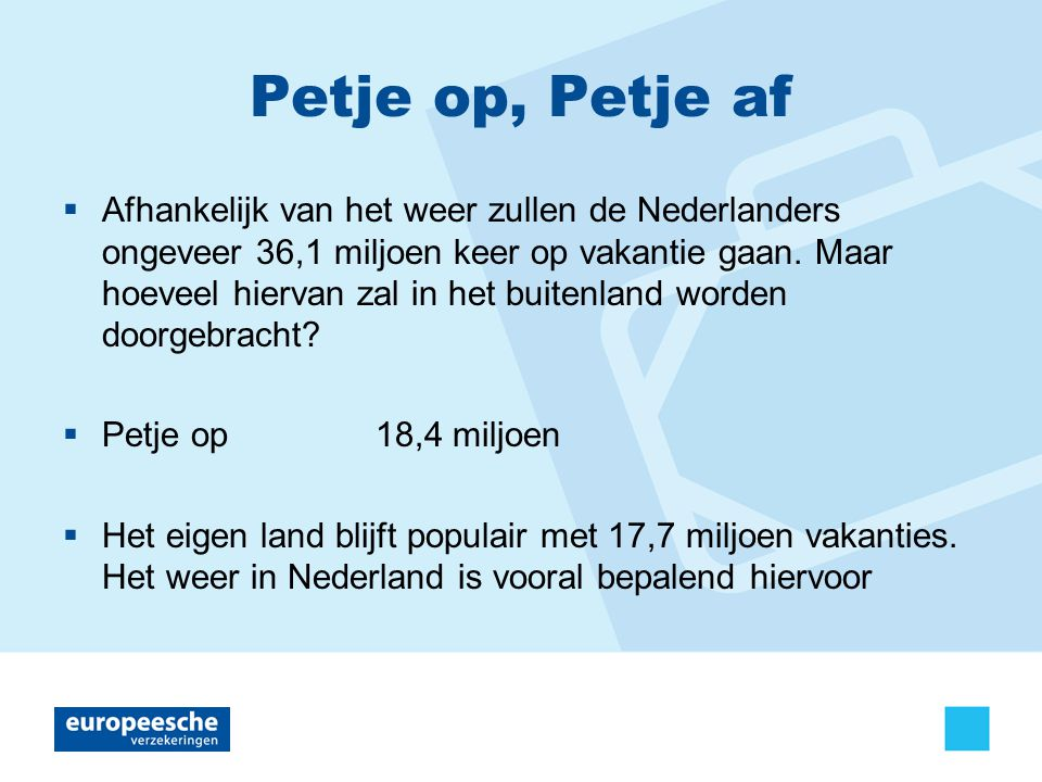 Petje op, Petje af  Afhankelijk van het weer zullen de Nederlanders ongeveer 36,1 miljoen keer op vakantie gaan.