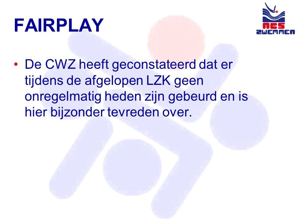 FAIRPLAY •De CWZ heeft geconstateerd dat er tijdens de afgelopen LZK geen onregelmatig heden zijn gebeurd en is hier bijzonder tevreden over.