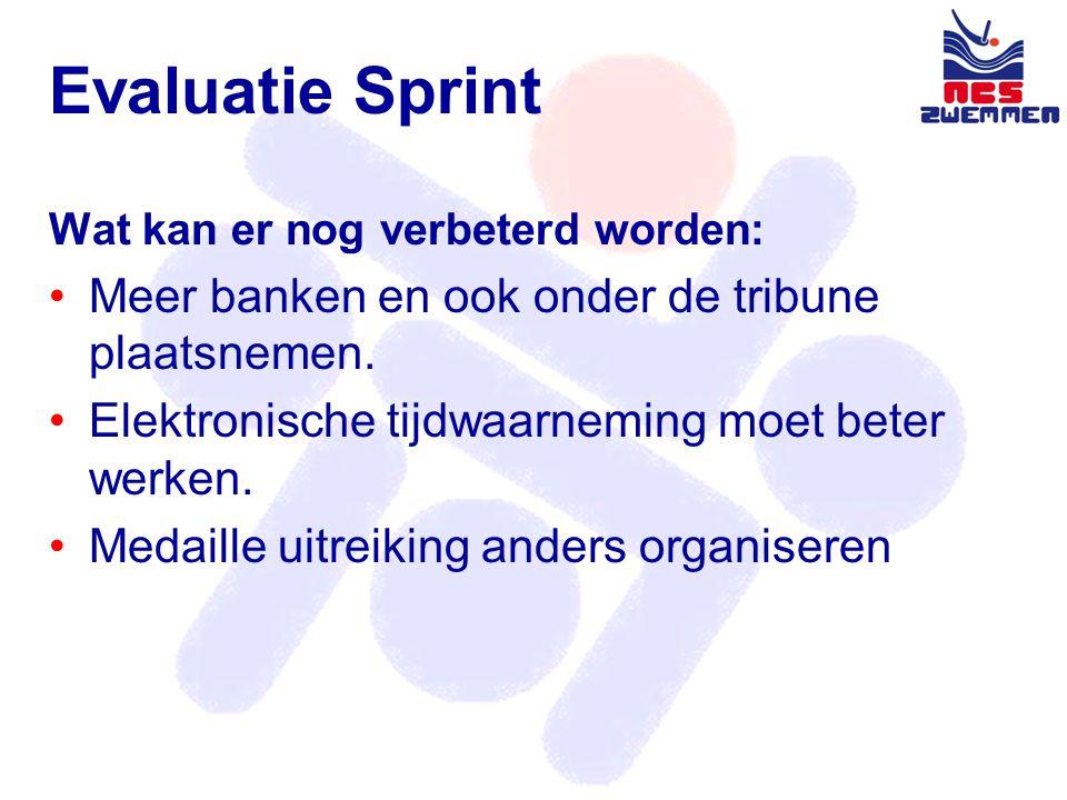 Evaluatie Sprint Wat kan er nog verbeterd worden: •Meer banken en ook onder de tribune plaatsnemen.