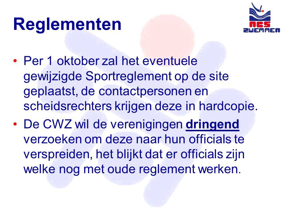 Reglementen •Per 1 oktober zal het eventuele gewijzigde Sportreglement op de site geplaatst, de contactpersonen en scheidsrechters krijgen deze in hardcopie.