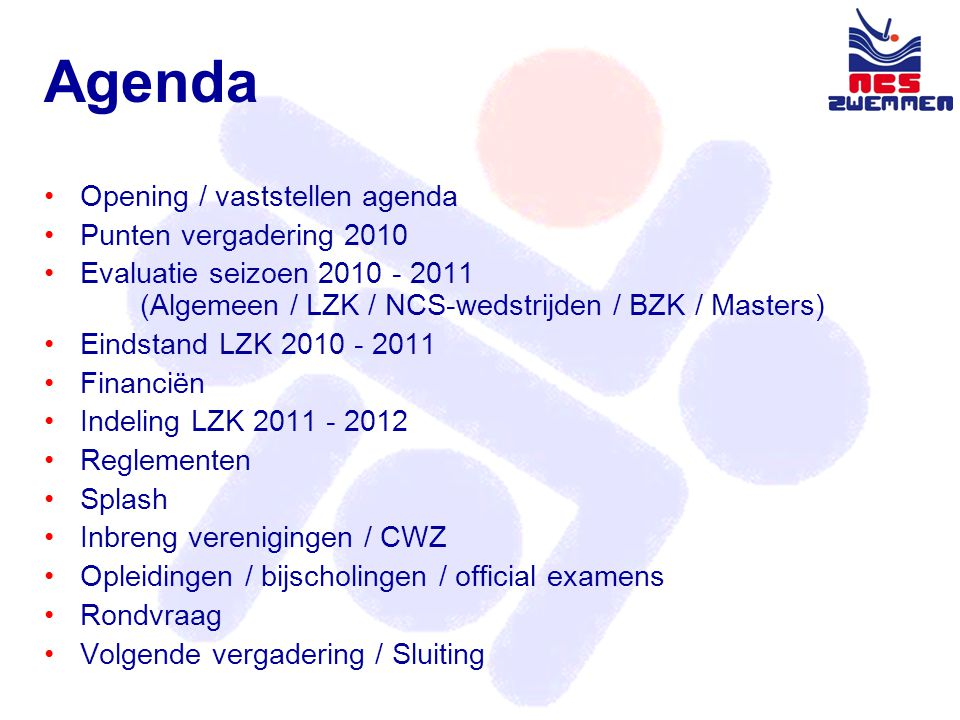 Indeling LZK 2011 - 2012 •17 aangemelde ploegen •Lisse heeft ingeschreven met 1 ploeg i.p.v 2 ploegen Voorstel: •2 afdelingen van 6 ploegen en 1 afdeling met 5 ploegen of •1 afdeling van 5 ploegen en 2 afdelingen van 6 ploegen