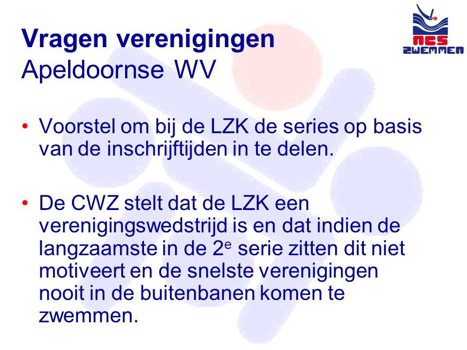 Vragen verenigingen Apeldoornse WV •Voorstel om bij de LZK de series op basis van de inschrijftijden in te delen.