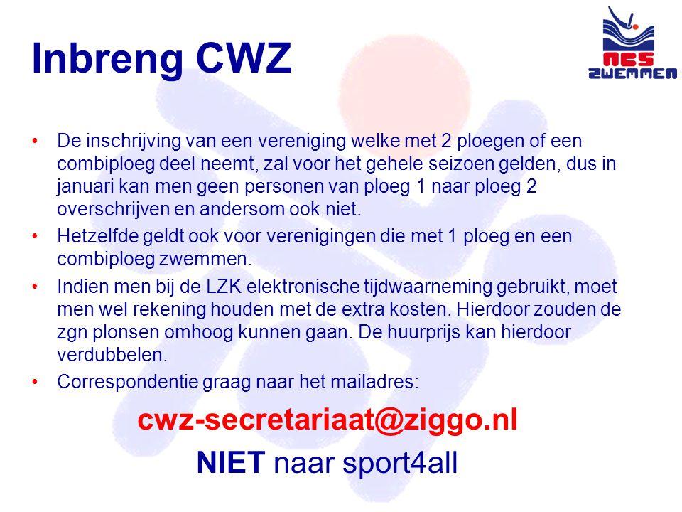 Inbreng CWZ •De inschrijving van een vereniging welke met 2 ploegen of een combiploeg deel neemt, zal voor het gehele seizoen gelden, dus in januari kan men geen personen van ploeg 1 naar ploeg 2 overschrijven en andersom ook niet.