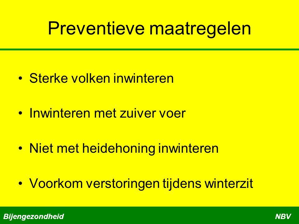 Preventieve maatregelen •Sterke volken inwinteren •Inwinteren met zuiver voer •Niet met heidehoning inwinteren •Voorkom verstoringen tijdens winterzit