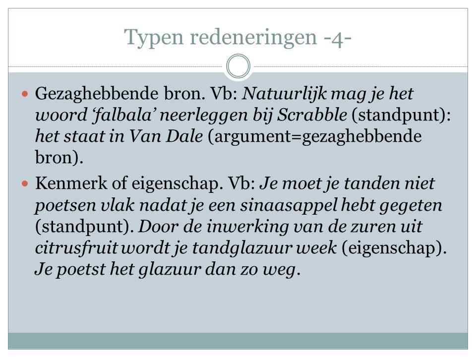 Typen redeneringen -4-  Gezaghebbende bron. Vb: Natuurlijk mag je het woord 'falbala' neerleggen bij Scrabble (standpunt): het staat in Van Dale (arg