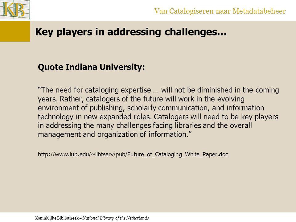Koninklijke Bibliotheek – National Library of the Netherlands Van Catalogiseren naar Metadatabeheer Key players in addressing challenges… Quote Indian