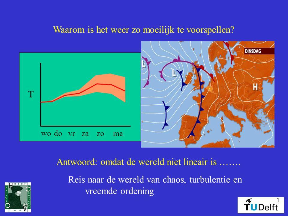 1 T wodovrzazoma Waarom is het weer zo moeilijk te voorspellen? Antwoord: omdat de wereld niet lineair is ……. Reis naar de wereld van chaos, turbulent