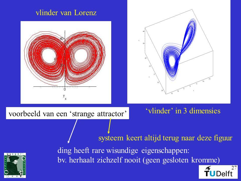27 vlinder van Lorenz voorbeeld van een 'strange attractor' systeem keert altijd terug naar deze figuur ding heeft rare wisundige eigenschappen: bv. h