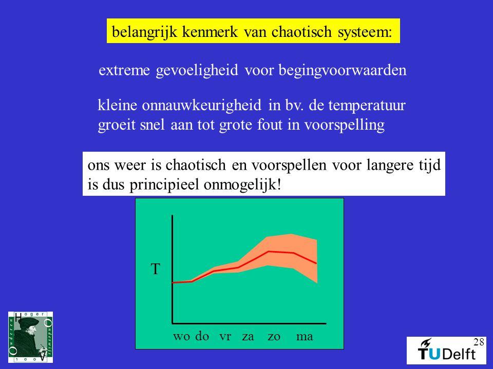 28 belangrijk kenmerk van chaotisch systeem: extreme gevoeligheid voor begingvoorwaarden kleine onnauwkeurigheid in bv. de temperatuur groeit snel aan
