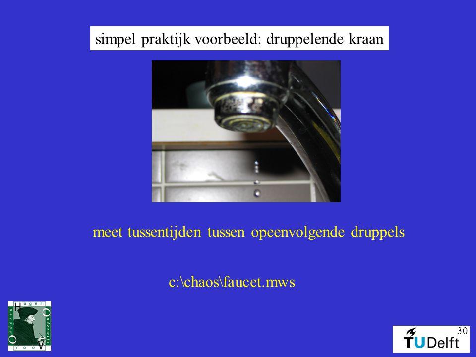 30 simpel praktijk voorbeeld: druppelende kraan meet tussentijden tussen opeenvolgende druppels c:\chaos\faucet.mws