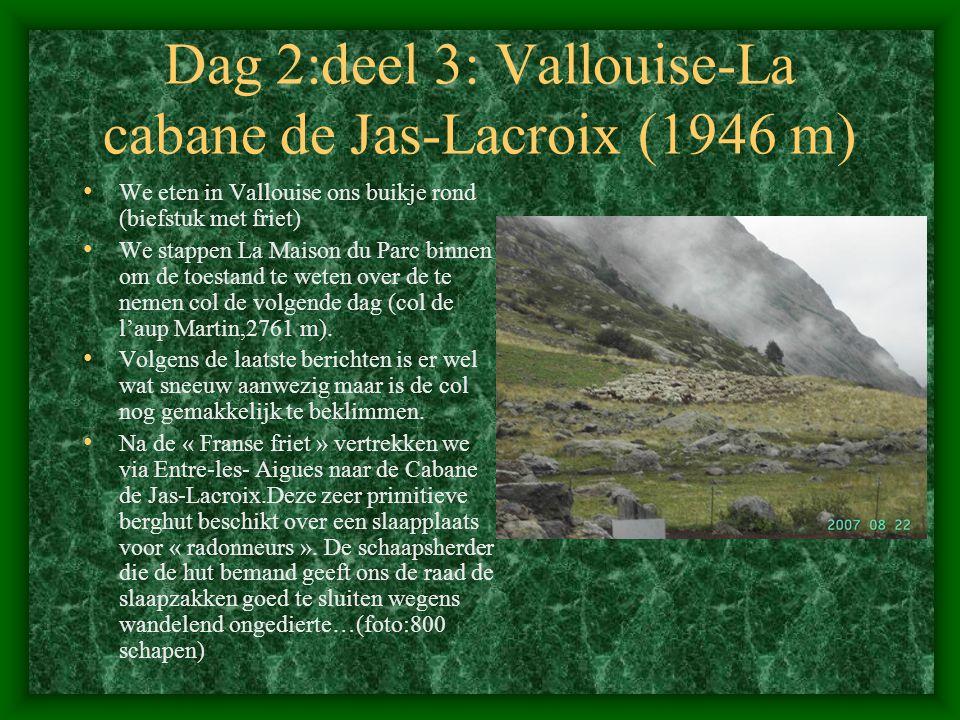 Dag 2:deel 3: Vallouise-La cabane de Jas-Lacroix (1946 m) • We eten in Vallouise ons buikje rond (biefstuk met friet) • We stappen La Maison du Parc binnen om de toestand te weten over de te nemen col de volgende dag (col de l'aup Martin,2761 m).