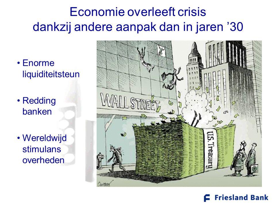 Economie overleeft crisis dankzij andere aanpak dan in jaren '30 •Enorme liquiditeitsteun •Redding banken •Wereldwijd stimulans overheden