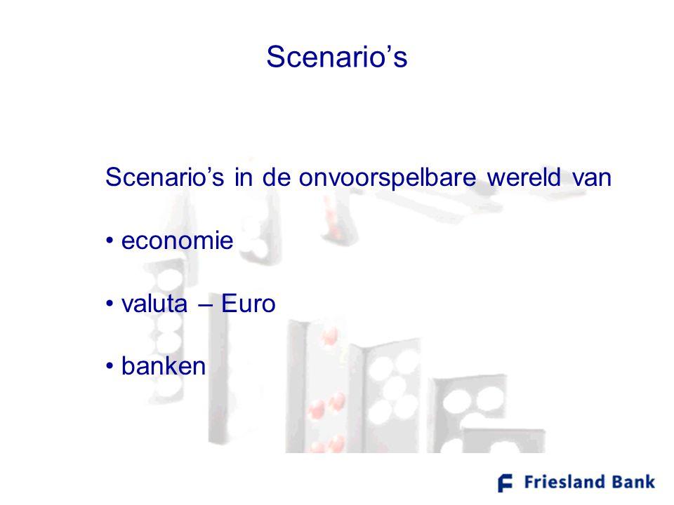 Scenario's Scenario's in de onvoorspelbare wereld van • economie • valuta – Euro • banken