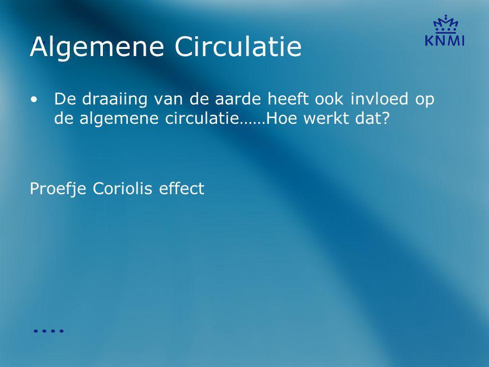Algemene Circulatie Het effect van de Corioliskracht op de algemene circulatie: •Op het noordelijk halfrond is de noordelijke wind in praktijk noordoost.