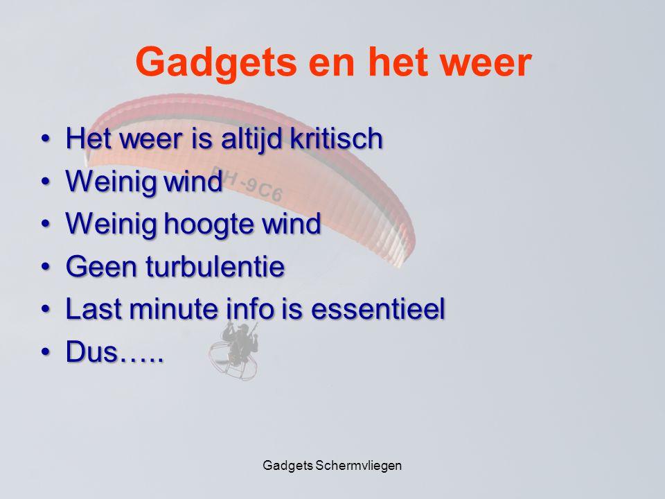 Gadgets en het weer •Het weer is altijd kritisch •Weinig wind •Weinig hoogte wind •Geen turbulentie •Last minute info is essentieel •Dus…..