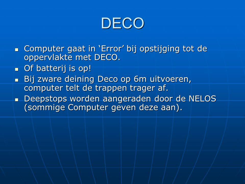 DECO  Computer gaat in 'Error' bij opstijging tot de oppervlakte met DECO.