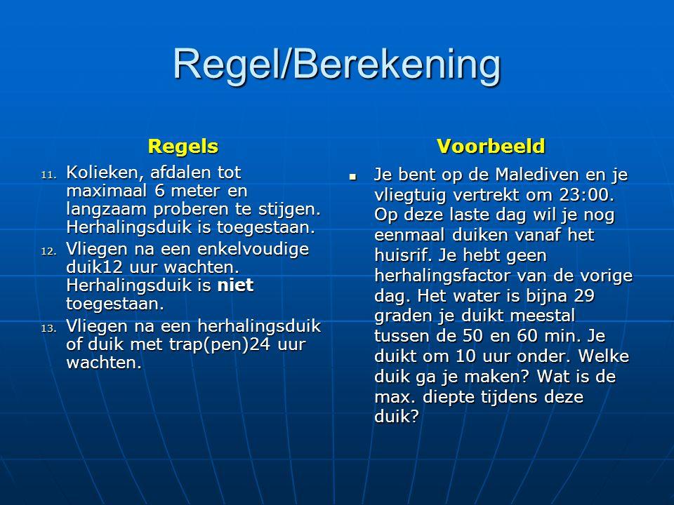 Regel/Berekening Regels 14.Mengsel duiken (Nitrox).