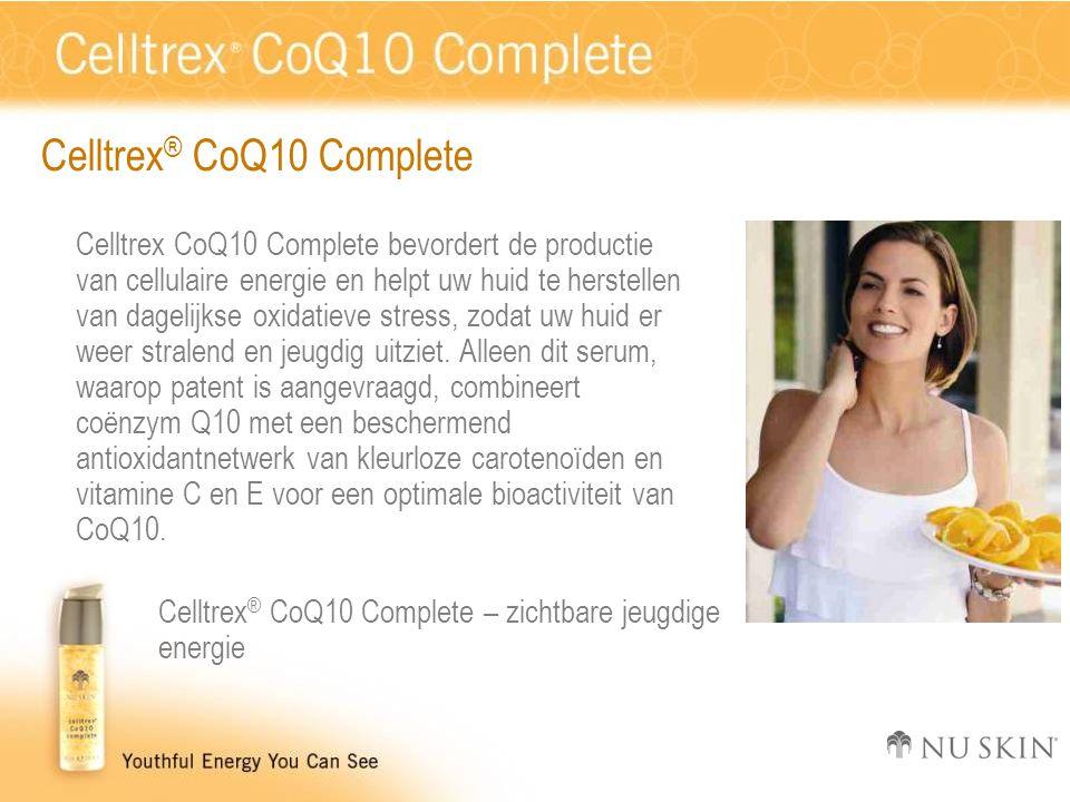 Celltrex ® CoQ10 Complete Celltrex CoQ10 Complete bevordert de productie van cellulaire energie en helpt uw huid te herstellen van dagelijkse oxidatieve stress, zodat uw huid er weer stralend en jeugdig uitziet.