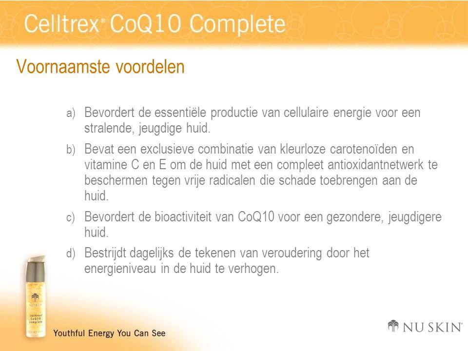 Voornaamste voordelen a) Bevordert de essentiële productie van cellulaire energie voor een stralende, jeugdige huid. b) Bevat een exclusieve combinati
