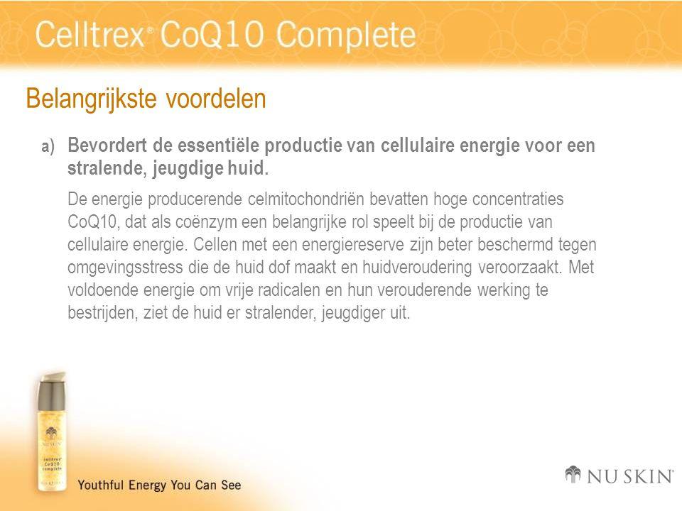 Belangrijkste voordelen a) Bevordert de essentiële productie van cellulaire energie voor een stralende, jeugdige huid. De energie producerende celmito