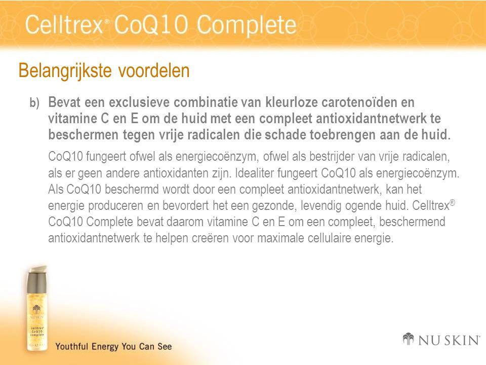 Belangrijkste voordelen b) Bevat een exclusieve combinatie van kleurloze carotenoïden en vitamine C en E om de huid met een compleet antioxidantnetwer