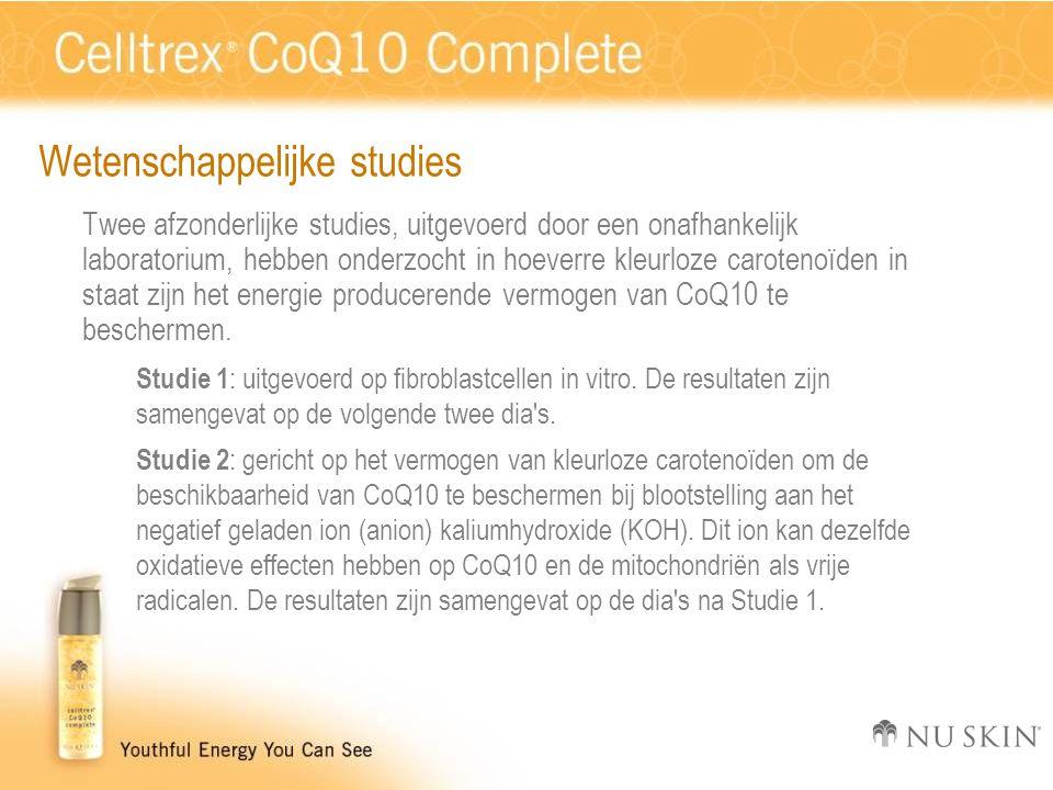 Wetenschappelijke studies Twee afzonderlijke studies, uitgevoerd door een onafhankelijk laboratorium, hebben onderzocht in hoeverre kleurloze carotenoïden in staat zijn het energie producerende vermogen van CoQ10 te beschermen.