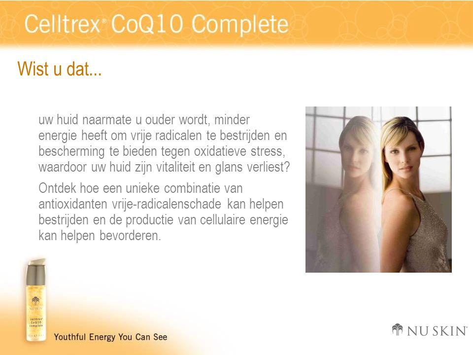 Wist u dat... uw huid naarmate u ouder wordt, minder energie heeft om vrije radicalen te bestrijden en bescherming te bieden tegen oxidatieve stress,
