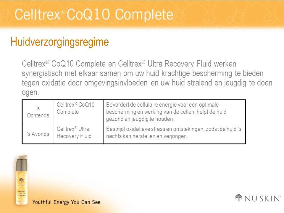 Huidverzorgingsregime Celltrex ® CoQ10 Complete en Celltrex ® Ultra Recovery Fluid werken synergistisch met elkaar samen om uw huid krachtige bescherming te bieden tegen oxidatie door omgevingsinvloeden en uw huid stralend en jeugdig te doen ogen.