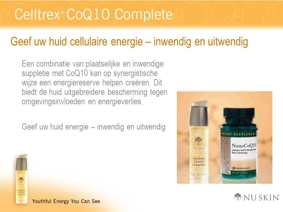 Geef uw huid cellulaire energie – inwendig en uitwendig Een combinatie van plaatselijke en inwendige suppletie met CoQ10 kan op synergistische wijze een energiereserve helpen creëren.