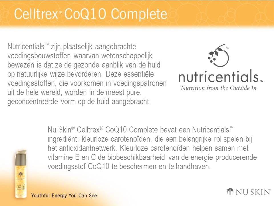 Nutricentials ™ zijn plaatselijk aangebrachte voedingsbouwstoffen waarvan wetenschappelijk bewezen is dat ze de gezonde aanblik van de huid op natuurl