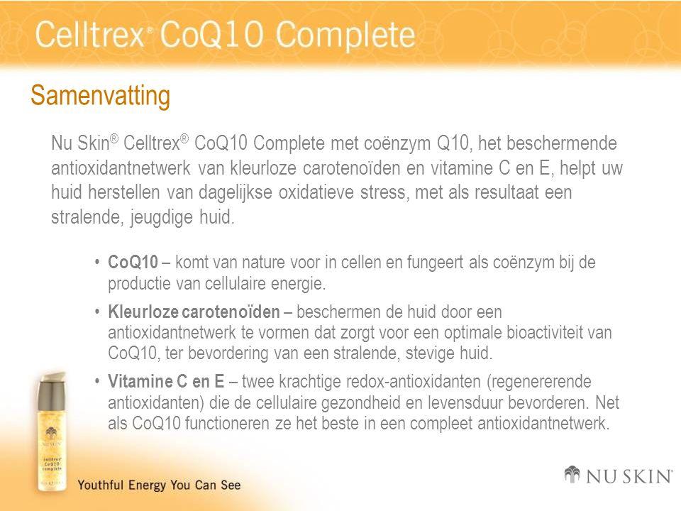 Samenvatting Nu Skin ® Celltrex ® CoQ10 Complete met coënzym Q10, het beschermende antioxidantnetwerk van kleurloze carotenoïden en vitamine C en E, helpt uw huid herstellen van dagelijkse oxidatieve stress, met als resultaat een stralende, jeugdige huid.